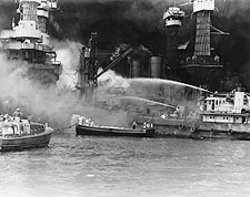 WWII Pearl Harbor USS West Virginia on Fire Photo Print for Sale