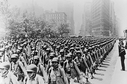 WWII Soldiers on 5th Ave in New York City Photo Print