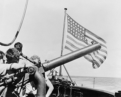 WWII US Submarine 50 Caliber Gun & Flag Photo Print