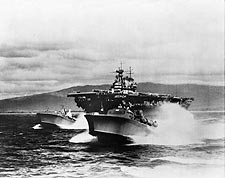 WWII Yorktown Class Carrier with PT Boats Photo Print for Sale