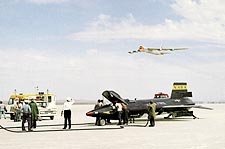 X-15 on Lakebed w/ B-52 Flyby Photo Print for Sale