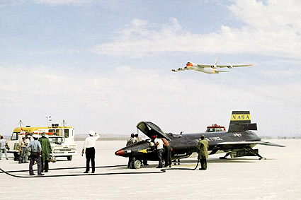 X-15 on Lakebed w/ B-52 Flyby Photo Print