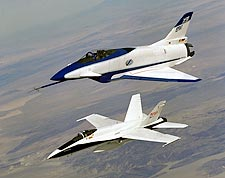 X-31 Aircraft in Flight w/ F-18 Chase NASA Photo Print for Sale