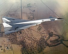 XB-70 / XB-70A in Flight Over Mojave Desert Photo Print for Sale
