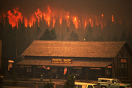 Yellowstone Fire Near Old Faithful Building Complex 1988 Photo Print