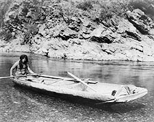 Yurok Canoe Trinity River Edward S. Curtis Photo Print for Sale