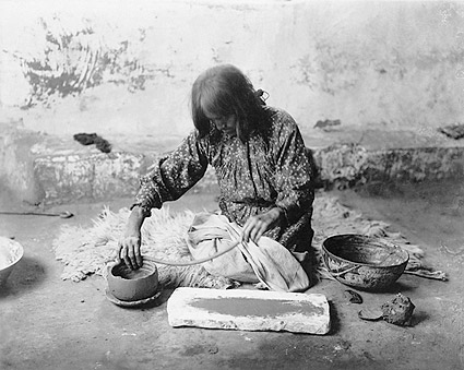 Zuni Woman Making Pottery Edward S. Curtis Photo Print