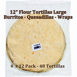 "12"" Flour Tortillas for Burritos, Quesadillas, Wraps by Romero's"