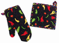 Colorful Chilis Pot Holder and Oven Mitt
