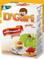 D'Gari Gelatin Unflavored 4 Envelopes (0.25 oz each) 1 oz.