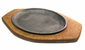 Fajita Plate with Wood Base Double Handle
