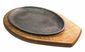 Fajita Plate with Wood Base Underliner Single Handle