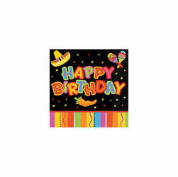 Fiesta Fun Happy Birthday Beverage Napkins