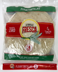 "La Tortilla Fresca Flour Tortillas Fajitas 8"" Made with LARD"