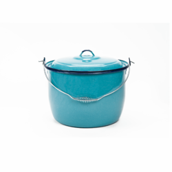Olla de Peltre Azul - Convex Kettle with Lid Turquoise by CINSA