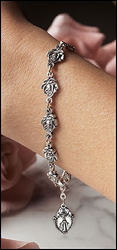 Pewter Rose Rosary Bracelet with Our Lady of Guadalupe image