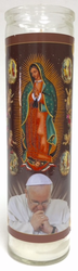Our Lady of Guadalupe Candle with Pope Francis White Candle - (Pack of 6)