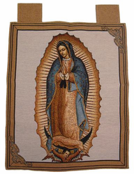 Our Lady of Guadalupe Woven Banner with Hanging Loops