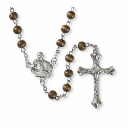 Pope Francis & St. Francis Brown Wood Rosary