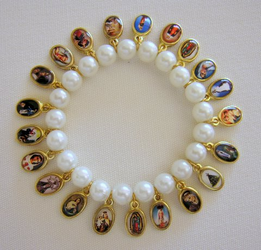 Religious Bracelet - Virgin Mary & Saints Bracelet with 21 religious medals
