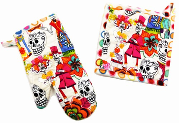 Skelleton Wedding Light Pot Holder and Oven Mitt