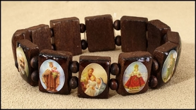 Wooden Religious Bracelet - Bracelet with medals