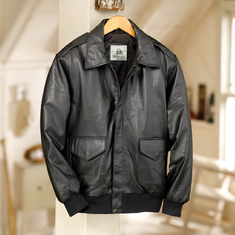 Burk's Bay Lamb Skin Black Leather Bomber Jacket