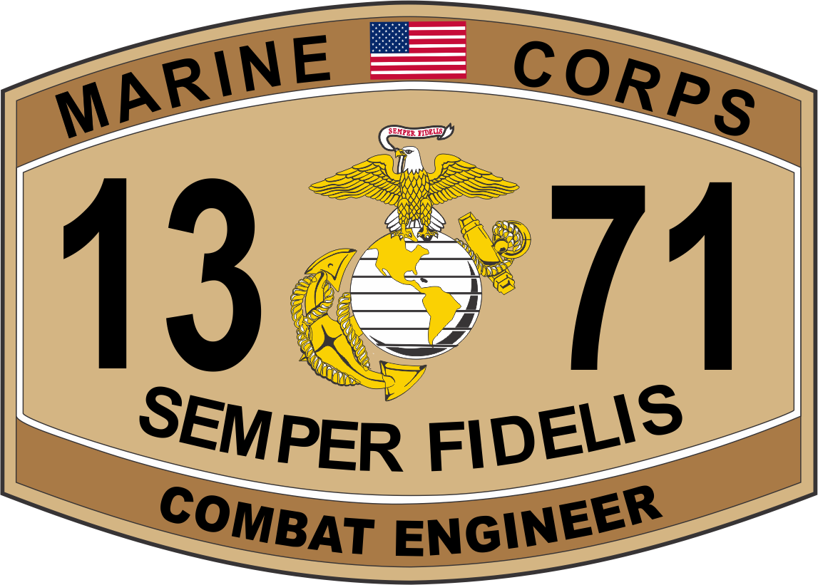 Combat Engineer Marine Corps MOS 1371 USMC Military Decal