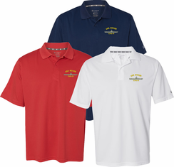 Custom Embroidered Navy Ship Moisture Wicking Polo Shirt