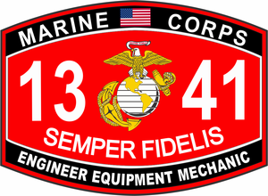 Engineer Equipment Mechanic Marine Corps MOS 1341 USMC Military  Decal
