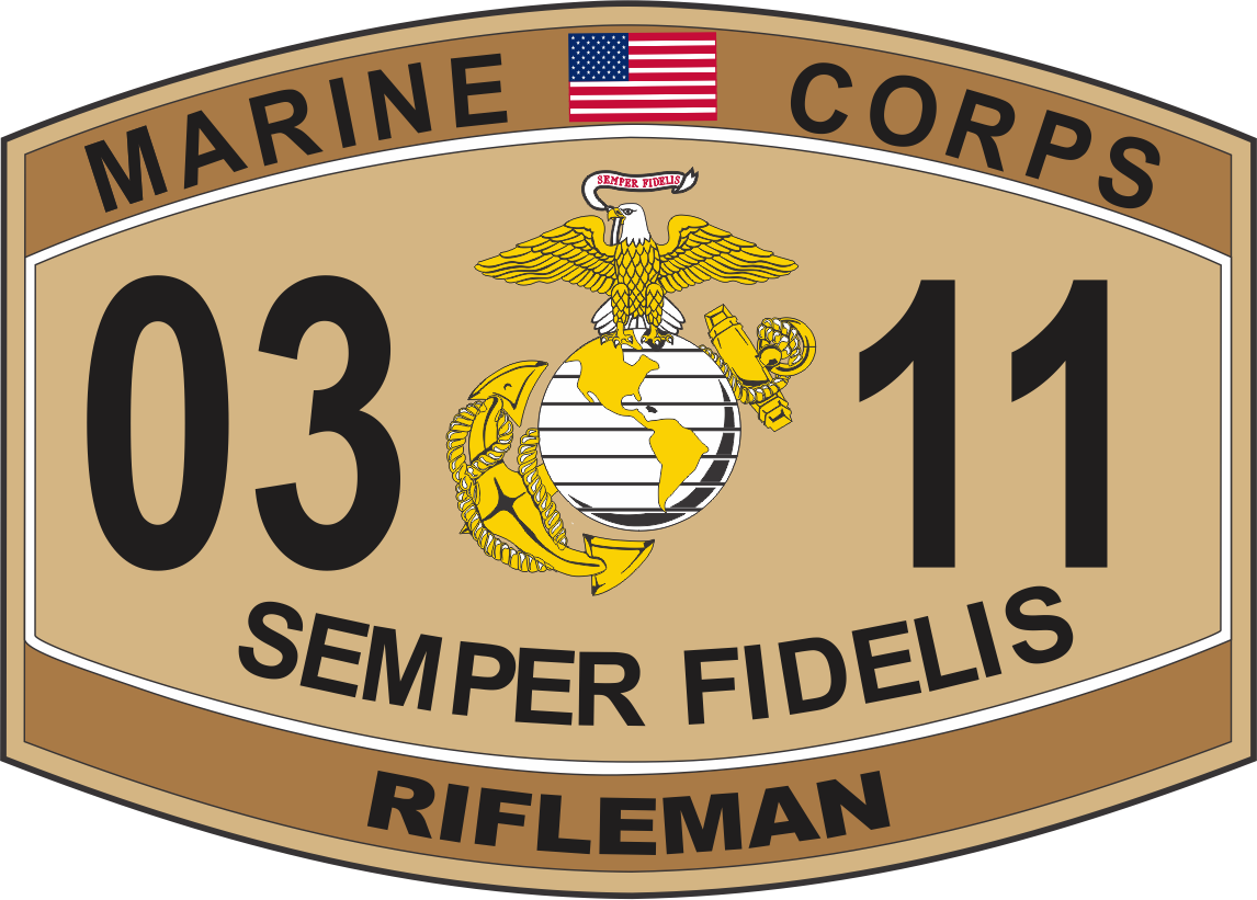 Rifleman Marine Corps MOS 0311 USMC Military Decal