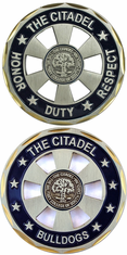 "The Citadel Bulldogs ""cut-out"" Challenge Coin"