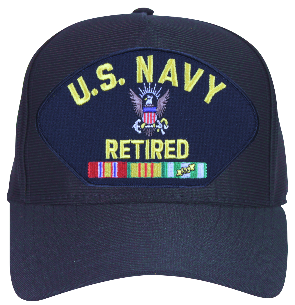 U S Navy Retired With Logo And Vietnam Ribbons Ball Cap