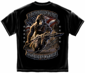 "US Army ""RATHER DIE ON MY FEET"" Black T-Shirt"