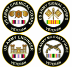 US Army Round Veteran Decals with Ribbon