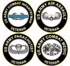 US Army Veteran Combat Badge Decals