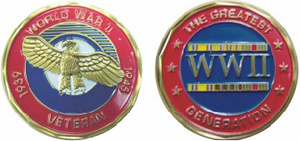 WWII 'The Greatest Generation 1939 - 1945 Veteran Challenge Coin