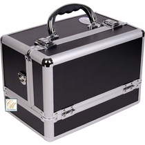 Black Silver Side Open Makeup Case