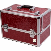 Burgundy Crocodile Pro Makeup Case