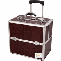 Burgundy Rolling Travel Trolley Train Makeup Case