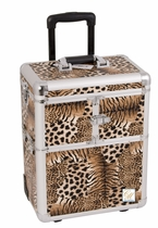 Mid Size Rolling Trolley Train Leopard Makeup Case