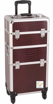 New Burgundy Alligator Trolley Train  Makeup Case