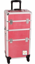 Pink 4 Wheel Trolley Train Makeup Case