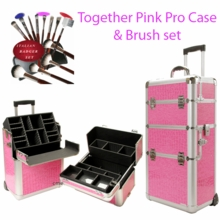 Pro Rolling Pink Train Case w Makeup Brushes