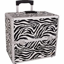 Rolling Zebra Travel Trolley Train  Makeup Case