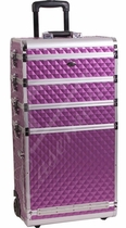Tall Purple Makeup Train Case