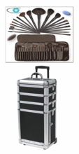 Tall Makeup  Train case w brush Set
