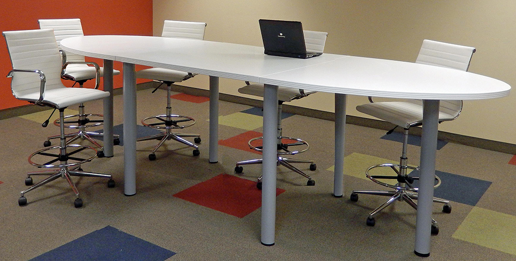oval standing height conference tables in maple white or