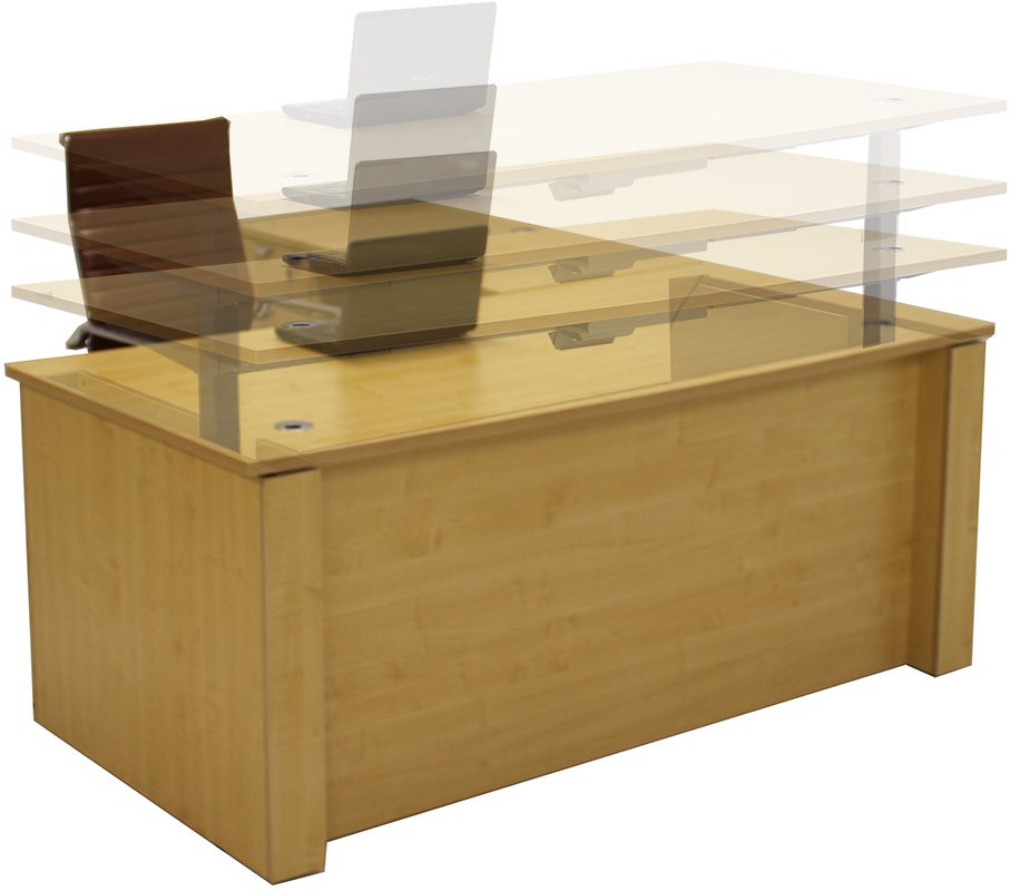 Adjustable Height U Shaped Executive Office Desk In Maple