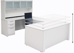 Adjustable Height U-Shaped Executive Office Desk in White